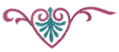 "Embroidery Design: Swirling Heart (small)3.91"" x 1.49"""