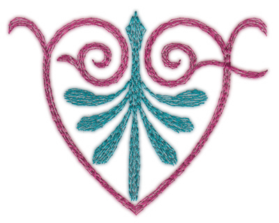 "Embroidery Design: Swirling Heart Single (small)3.22"" x 2.60"""