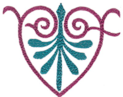 "Embroidery Design: Swirling Heart Single (large)4.83"" x 3.91"""