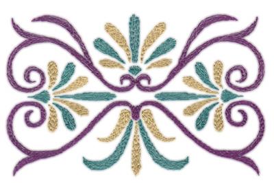 """Embroidery Design: Deco Swirls (small)4.71"""" x 3.01"""""""