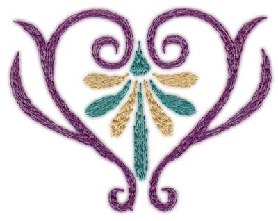 """Embroidery Design: Deco Swirl Heart (small)3.01"""" x 2.35"""""""