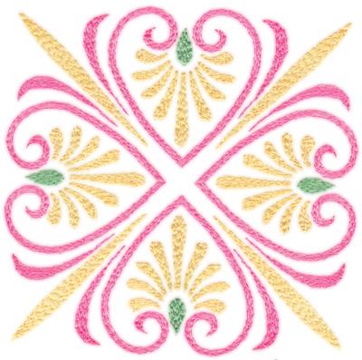 "Embroidery Design: Elegant Hearts (small)4.32"" x 4.31"""