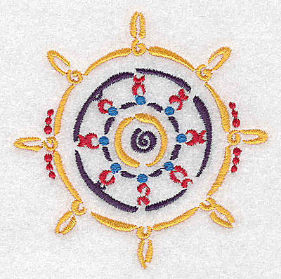 Embroidery Design: Ship's steering wheel small 3.50w X 3.55h