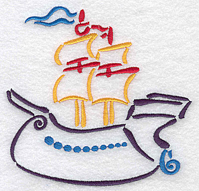 Embroidery Design: Ship large 4.98w X 4.86h