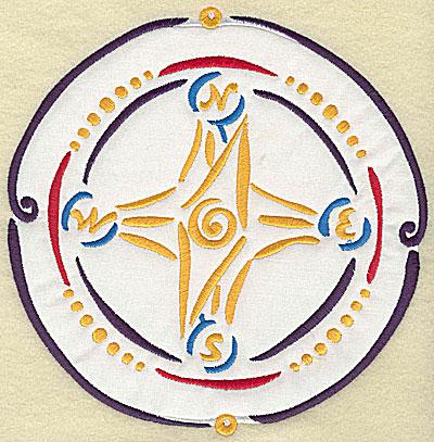 Embroidery Design: Compass applique 7.57w X 7.72h