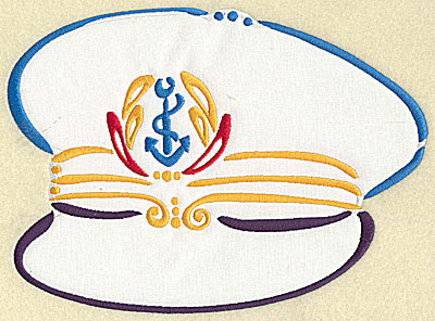 Embroidery Design: Captain's hat applique 9.55w X 7.03h