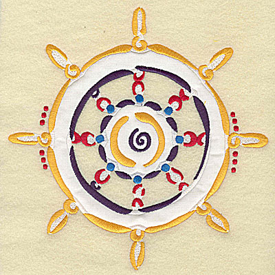 Embroidery Design: Ship's steering wheel double applique 7.71w X 7.75h