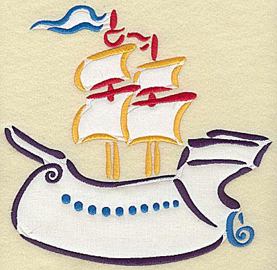 Embroidery Design: Ship galleon double applique 7.79w X 7.78h