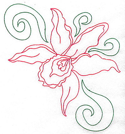 Embroidery Design: Orchid 1 large 6.83w X 6.95h