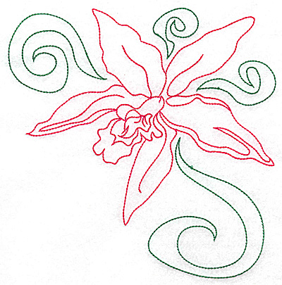 Embroidery Design: Orchid 3 large 6.88w X 6.96h