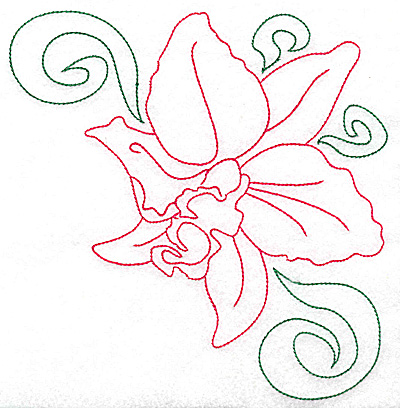 Embroidery Design: Orchid 6 large 6.81w X 6.96h