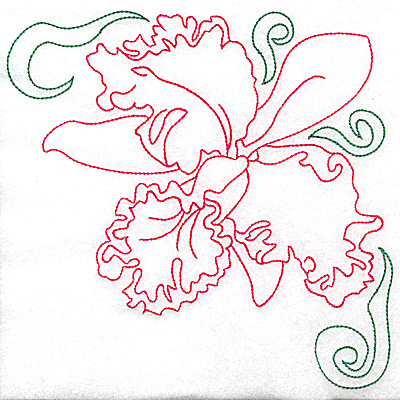 Embroidery Design: Orchid 7 large 6.93w X 6.96h