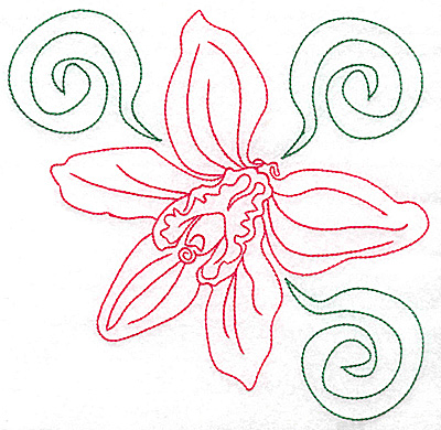Embroidery Design: Orchid 8 large 6.96w X 6.91h