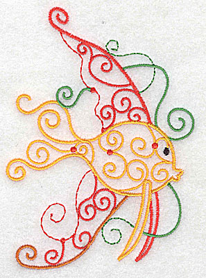 Embroidery Design: Fish A with swirls large 3.56w X 4.96h