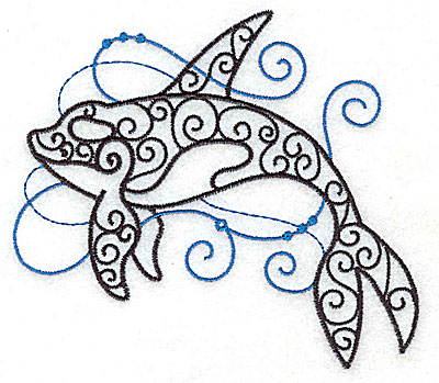 Embroidery Design: Whale with swirls large 4.97w X 4.43h