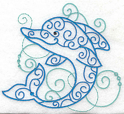 Embroidery Design: Dolphin with swirls large 4.93w X 4.45h
