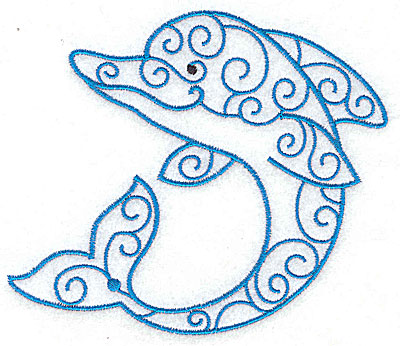 Embroidery Design: Dolphin 4.91w X 4.24h