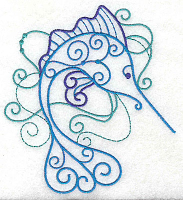 Embroidery Design: Marlin with swirls large 4.46w X 4.96h