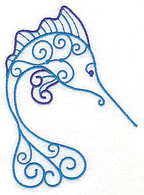 Embroidery Design: Marlin 3.66w X 4.96h