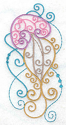 Embroidery Design: Jellyfish with swirls large 2.62w X 4.95h