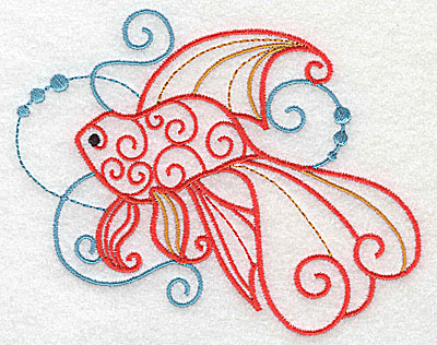 Embroidery Design: Fish D with swirls large 4.93w X 4.15h