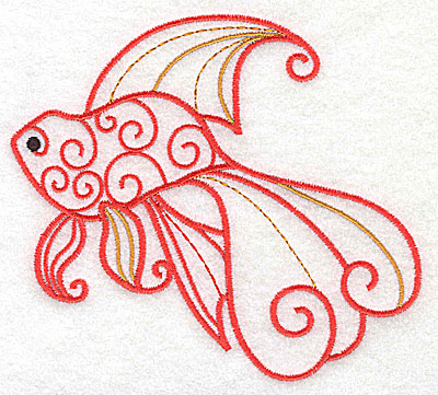 Embroidery Design: Fish D 4.97w X 4.53h