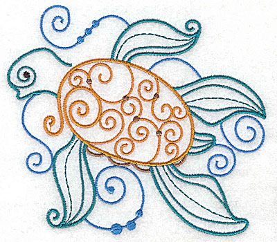 Embroidery Design: Sea Turtle with swirls large 4.94w X 4.34h