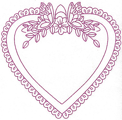 Embroidery Design: Floral heart frame 102 large 7.96w X 7.76h