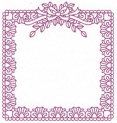 Embroidery Design: Rectangular frame with bow 103 large 7.20w X 7.76h