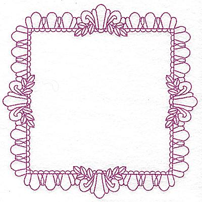 Embroidery Design: Rectangular fleur-de-lys frame 106 large 7.76w X 7.76h