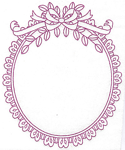 Embroidery Design: Oval frame with bow 108 large 6.30w X 7.76h