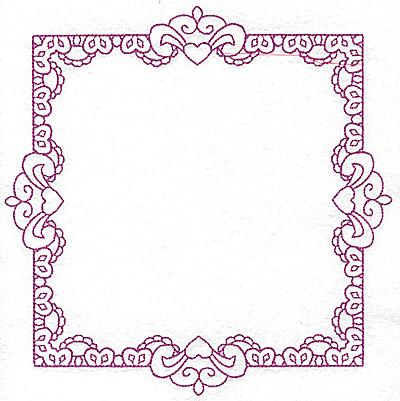 Embroidery Design: Rectangular fleur-de-lys frame 111 large 7.78w X 7.78h