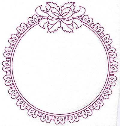 Embroidery Design: Round frame with leaves and bow 112 large 7.35w X 7.78h