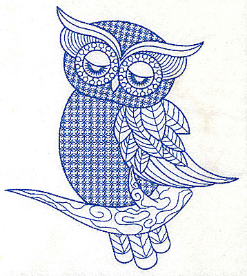 Embroidery Design: Owl D large 6.15w X 6.91h
