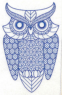 Embroidery Design: Owl G large 4.35w X 6.90h