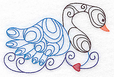 Embroidery Design: Swan large 4.99w X 3.31h