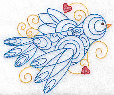 Embroidery Design: Bird with hearts large 4.96w X 4.18h