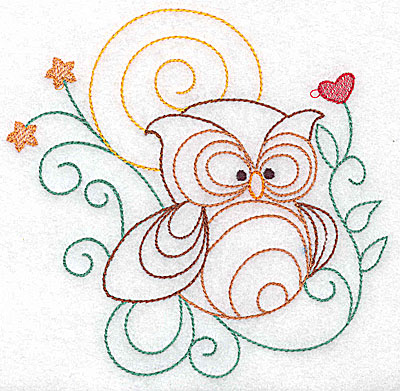 Embroidery Design: Owl large 4.95w X 4.88h