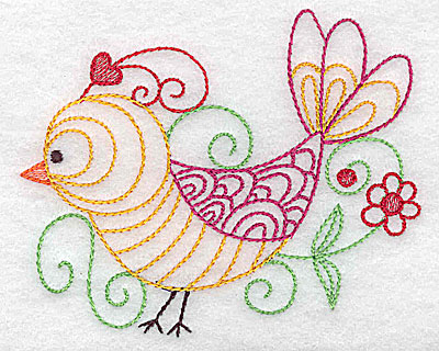 Embroidery Design: Bird with flower small 3.89w X 3.19h