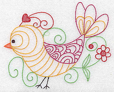 Embroidery Design: Bird with flower large 4.98w X 4.08h