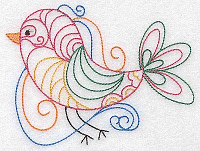 Embroidery Design: Bird with swirls large 4.97w X 3.73h
