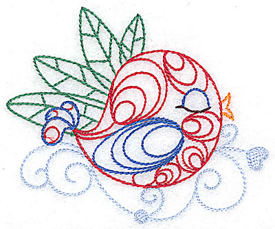 Embroidery Design: Bird among the leaves small 3.85w X 3.22h