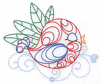 Embroidery Design: Bird among the leaves large 4.96w X 4.15h