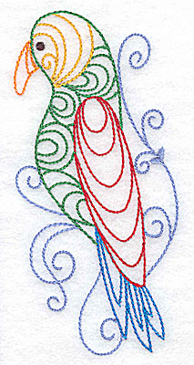 Embroidery Design: Parrot large 2.35w X 4.98h