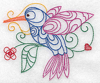 Embroidery Design: Hummingbird small 3.87w X 3.26h