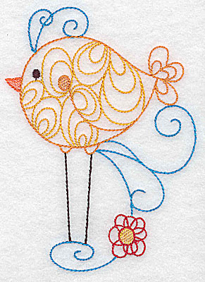 Embroidery Design: Long-legged bird large 3.63w X 4.96h