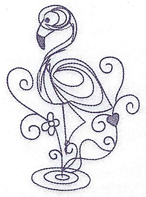 Embroidery Design: Flamingo one color 3.59w X 4.98h