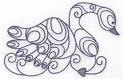 Embroidery Design: Swan one color 4.98w X 3.31h