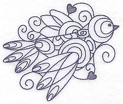 Embroidery Design: Bird with hearts 4.96w X 4.19h