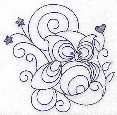 Embroidery Design: Owl 4.97w X 4.88h
